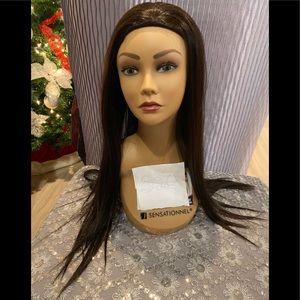Brown silk straight wig